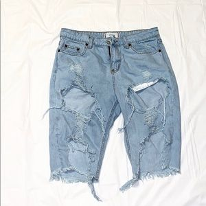 Pants - Distressed Bermuda Jean Shorts Lightwash